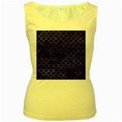 Scales1 Black Marble & Black Watercolor Women s Yellow Tank Top