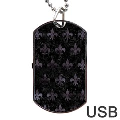 Royal1 Black Marble & Black Watercolor (r) Dog Tag Usb Flash (two Sides) by trendistuff