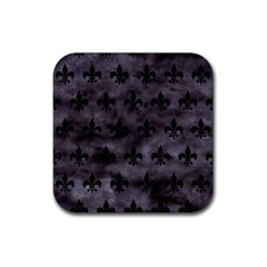 Royal1 Black Marble & Black Watercolor Rubber Square Coaster (4 Pack) by trendistuff