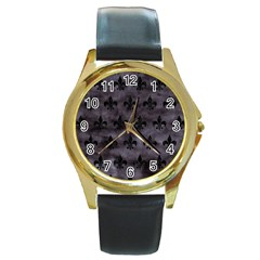 Royal1 Black Marble & Black Watercolor Round Gold Metal Watch
