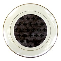 Royal1 Black Marble & Black Watercolor Porcelain Plate by trendistuff