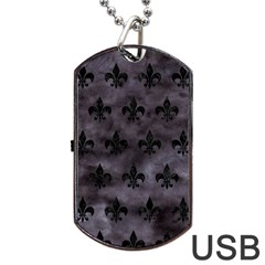Royal1 Black Marble & Black Watercolor Dog Tag Usb Flash (two Sides) by trendistuff