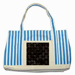 Puzzle1 Black Marble & Black Watercolor Striped Blue Tote Bag by trendistuff