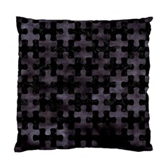 Puzzle1 Black Marble & Black Watercolor Standard Cushion Case (one Side) by trendistuff