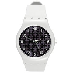 Puzzle1 Black Marble & Black Watercolor Round Plastic Sport Watch (m) by trendistuff