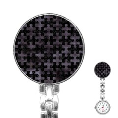 Puzzle1 Black Marble & Black Watercolor Stainless Steel Nurses Watch by trendistuff