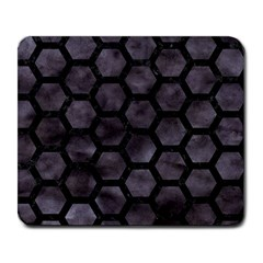 Hexagon2 Black Marble & Black Watercolor (r) Large Mousepad by trendistuff