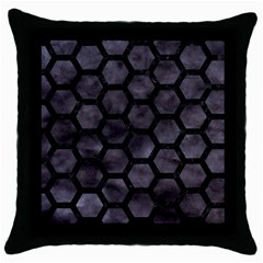 Hexagon2 Black Marble & Black Watercolor (r) Throw Pillow Case (black) by trendistuff