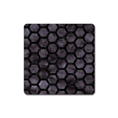 Hexagon2 Black Marble & Black Watercolor (r) Magnet (square) by trendistuff