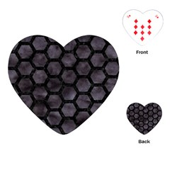 Hexagon2 Black Marble & Black Watercolor (r) Playing Cards (heart) by trendistuff