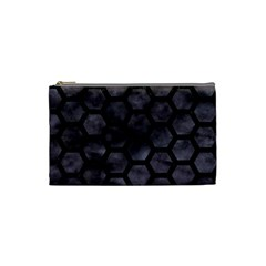 Hexagon2 Black Marble & Black Watercolor (r) Cosmetic Bag (small) by trendistuff