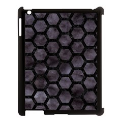 Hexagon2 Black Marble & Black Watercolor (r) Apple Ipad 3/4 Case (black) by trendistuff