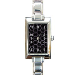 Hexagon2 Black Marble & Black Watercolor Rectangle Italian Charm Watch by trendistuff