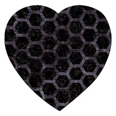 Hexagon2 Black Marble & Black Watercolor Jigsaw Puzzle (heart) by trendistuff