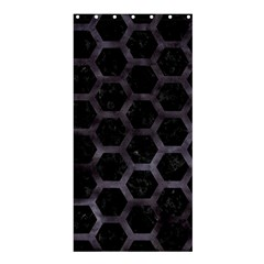 Hexagon2 Black Marble & Black Watercolor Shower Curtain 36  X 72  (stall) by trendistuff