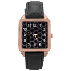 Hexagon2 Black Marble & Black Watercolor Rose Gold Leather Watch  by trendistuff