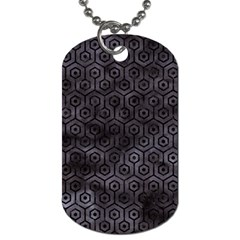 Hexagon1 Black Marble & Black Watercolor (r) Dog Tag (two Sides) by trendistuff