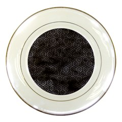 Hexagon1 Black Marble & Black Watercolor (r) Porcelain Plate by trendistuff