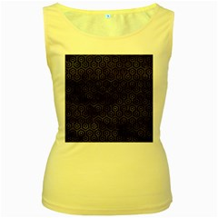 Hexagon1 Black Marble & Black Watercolor Women s Yellow Tank Top