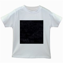 Hexagon1 Black Marble & Black Watercolor Kids White T Shirt by trendistuff