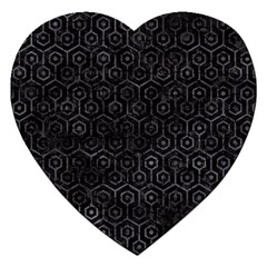 Hexagon1 Black Marble & Black Watercolor Jigsaw Puzzle (heart) by trendistuff