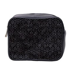 Hexagon1 Black Marble & Black Watercolor Mini Toiletries Bag (two Sides) by trendistuff