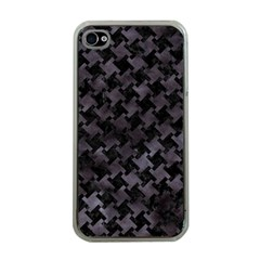 Houndstooth2 Black Marble & Black Watercolor Apple Iphone 4 Case (clear) by trendistuff