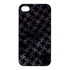 Houndstooth2 Black Marble & Black Watercolor Apple Iphone 4/4s Hardshell Case by trendistuff