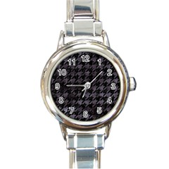 Houndstooth1 Black Marble & Black Watercolor Round Italian Charm Watch by trendistuff