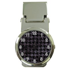 Houndstooth1 Black Marble & Black Watercolor Money Clip Watch by trendistuff