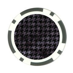 Houndstooth1 Black Marble & Black Watercolor Poker Chip Card Guard by trendistuff