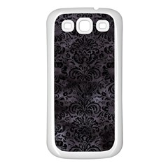 Damask2 Black Marble & Black Watercolor (r) Samsung Galaxy S3 Back Case (white) by trendistuff