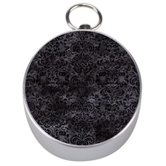 Damask2 Black Marble & Black Watercolor (r) Silver Compass by trendistuff
