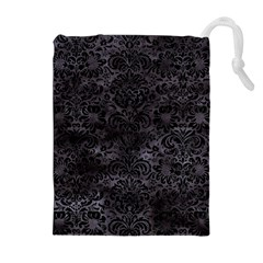 Damask2 Black Marble & Black Watercolor (r) Drawstring Pouch (xl)