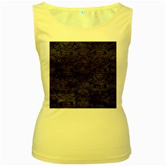 Damask2 Black Marble & Black Watercolor Women s Yellow Tank Top by trendistuff