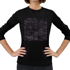 Damask2 Black Marble & Black Watercolor Women s Long Sleeve Dark T Shirt by trendistuff