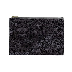 Damask2 Black Marble & Black Watercolor Cosmetic Bag (large)