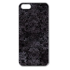 Damask2 Black Marble & Black Watercolor Apple Seamless Iphone 5 Case (clear) by trendistuff