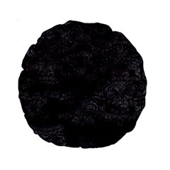 Damask2 Black Marble & Black Watercolor Standard 15  Premium Round Cushion  by trendistuff