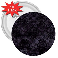 Damask1 Black Marble & Black Watercolor (r) 3  Button (10 Pack) by trendistuff