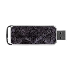 Damask1 Black Marble & Black Watercolor (r) Portable Usb Flash (two Sides) by trendistuff