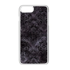 Damask1 Black Marble & Black Watercolor (r) Apple Iphone 7 Plus White Seamless Case by trendistuff