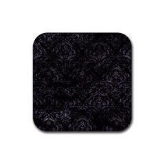 Damask1 Black Marble & Black Watercolor Rubber Square Coaster (4 Pack) by trendistuff
