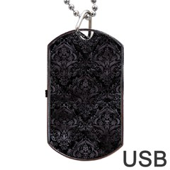 Damask1 Black Marble & Black Watercolor Dog Tag Usb Flash (one Side) by trendistuff