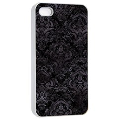 Damask1 Black Marble & Black Watercolor Apple Iphone 4/4s Seamless Case (white) by trendistuff