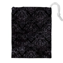 Damask1 Black Marble & Black Watercolor Drawstring Pouch (xxl) by trendistuff