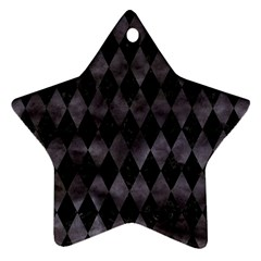 Diamond1 Black Marble & Black Watercolor Star Ornament (two Sides)