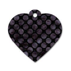 Circles2 Black Marble & Black Watercolor Dog Tag Heart (two Sides) by trendistuff