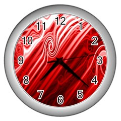 Red Abstract Swirling Pattern Background Wallpaper Wall Clocks (silver)