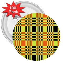 Yellow Orange And Black Background Plaid Like Background Of Halloween Colors Orange Yellow And Black 3  Buttons (100 Pack)  by Simbadda